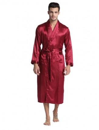 Hombre Impreso Batas De Baño Kimono En satin Lujoso Bata Ropa Dormir Pijama Conjunto - 1