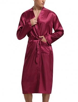 Hombre Impreso Batas De Baño Kimono En satin Lujoso Bata Ropa Dormir Pijama Conjunto - 2