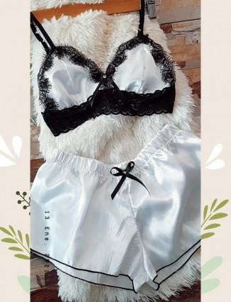 Pijama en Satin Tipo top y short Corto - 1