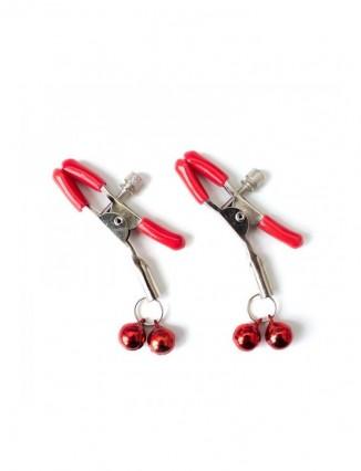 Pinzas para Pezones con Cascabeles Metal Rojo - 1